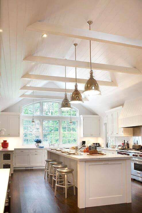 36 Great Exposed Beam Ceiling Lighting Ideas Vaulted Ceiling Kitchen Classic White Kitchen Kitchen Ceiling Lights