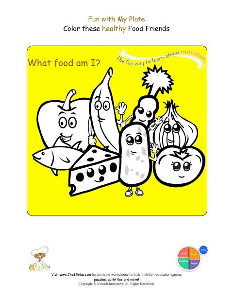 Printable - Food Groups Coloring Sheet Name the Foods