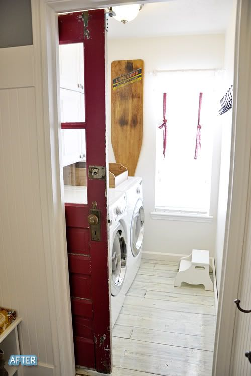 I'm obsessed with this red pocked door and whitewashed floors in the laundry room.