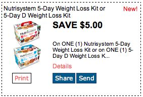 Save $5 on Nutrisystem 5 Day Weight Loss Kit. Click for more great deals! #Coupons #Deals #Weightloss