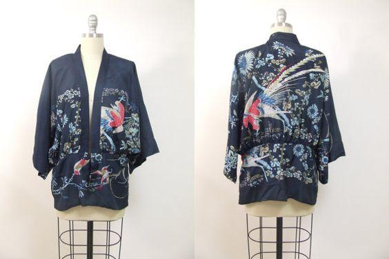 Kimono robe kimono silk kimono jacket blue kimono by AliceandAyala