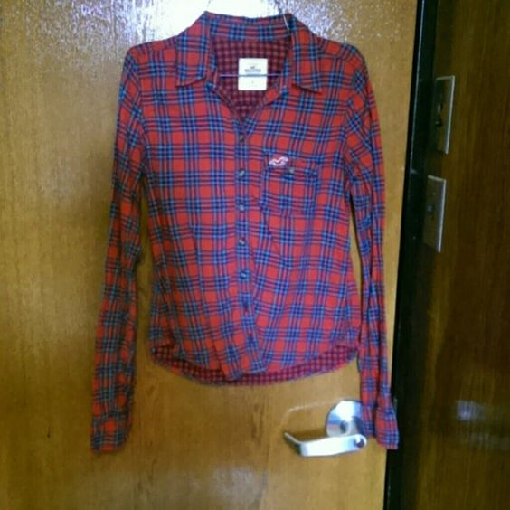 Plaid shirt Barely worn Hollister Tops