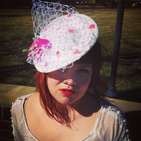 White and Pink Percher by StarlingMillinery on Etsy