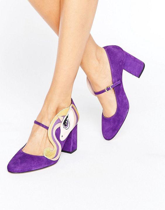 Minna Parikka Sparks Purple Unicorn Heeled Shoes