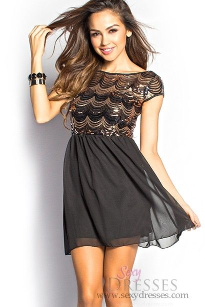Paige&quot Black and Gold Sequin Mesh Flowy Short Dress with Sleeves ...