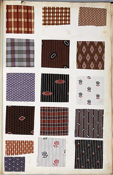 Book of printed cottons, 1863-68, approx. 29 pages of Indiennes, florals, geometrics, mainly in rich purples, browns by makers including Koe...