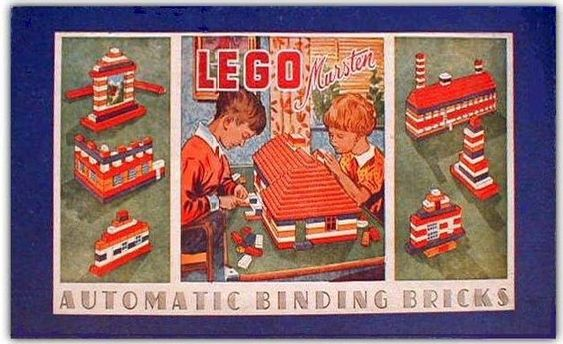 """LEGO Mursten (""""bricks"""") box from 1952-1953. Ole Kirk Christiansen, the founder of LEGO, which originally made wooden toys, died on March 11, 1958 at the age of 86. Since LEGO patented its bricks in 1958 over 400 billion have been produced."""
