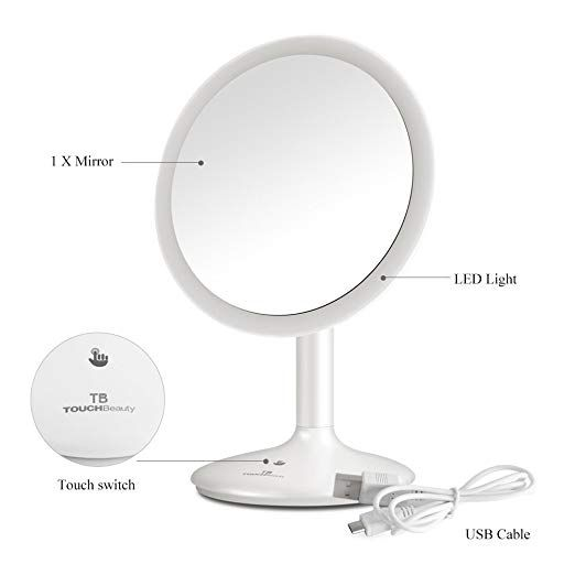 Touchbeauty Personal Face Makeup Mirror 90 Degree Swivel Touch Screen Dimmable Led Lighted Vanity Makeup Mirror Lighted Vanity Mirror Makeup Mirror With Lights