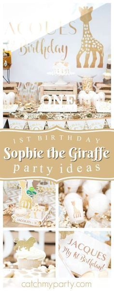 Don't miss this adorable Sophie the Giraffe 1st Birthday Party. The dessert table is wonderful!! See more party ideas and share yours at CatchMyParty.com