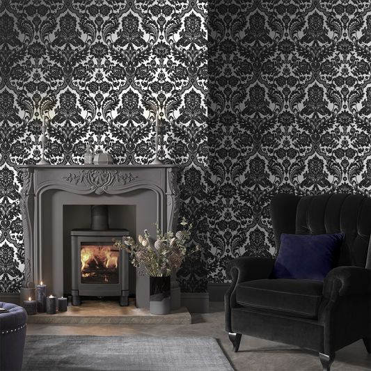 Gothic Damask Flock Black Silver Wallpaper Graham Brown Uk Silver Wallpaper Black And Silver Wallpaper Gothic Living Rooms
