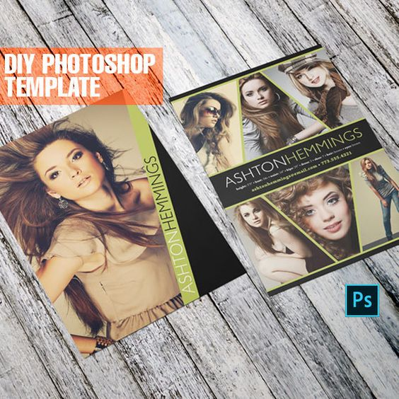 Diy Comp Card Photoshop Template For Models And Actors Etsy Model Comp Card Photoshop Template Card Template