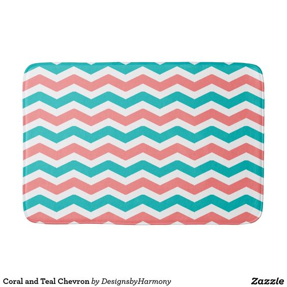 Coral and Teal Chevron Bathroom Mat