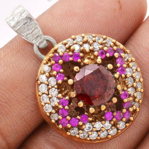Two-Tone-Garnet-Cubic-Zirconia-925-Sterling-Silver-Pendant-Jewelry-SP112421