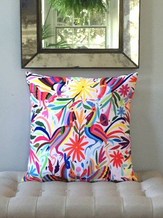 a printed variation of traditional Mexican Otomi embroidery.