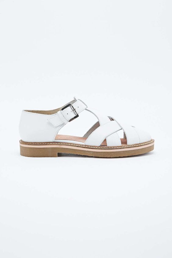 Deena & Ozzy Harvard T-Bar Crepe Sole Shoes in White - Urban Outfitters