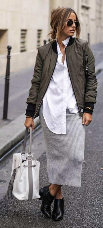 Camille Callen wears a grey jersey skirt with cute ankle boots and a khaki bomber jacket.   Jacket: Sixth June, Shirt: Sheinside, Skirt: Forever21, Boots/Bag: Clarks.: