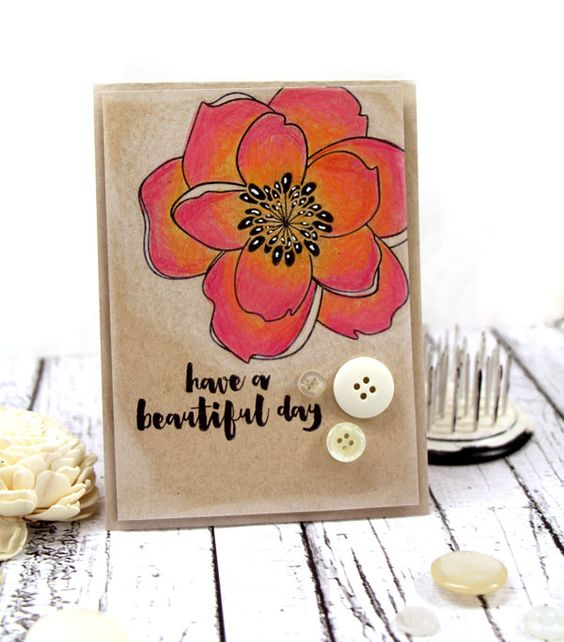 Vibrant Magnolia Card on Kraft by Julia Stainton using the Mondo Magnolia Stamp Set by Ellen Hutson LLC