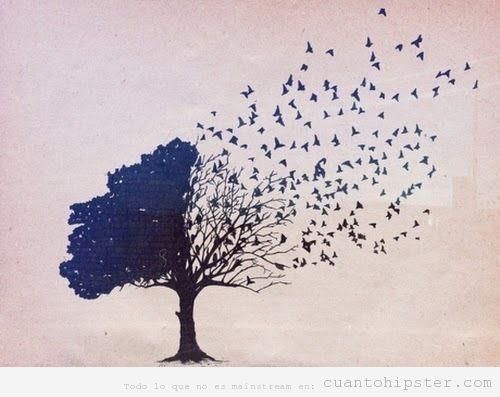 Ilustración arbol pájaro