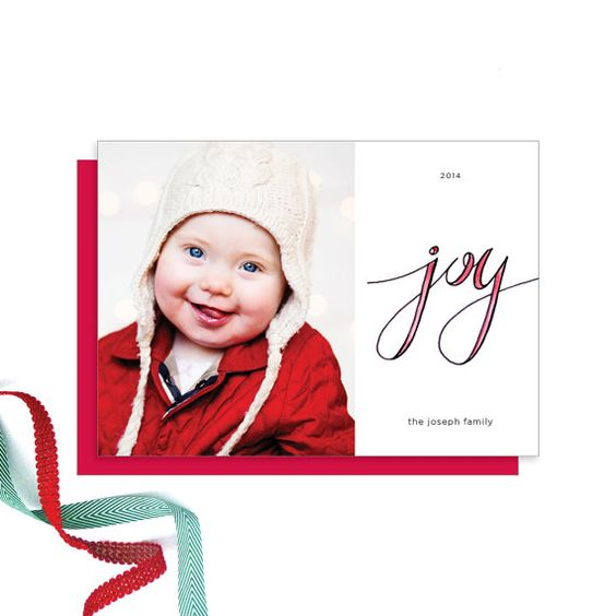 Chena Design hand lettered, holiday photo card. Shop on Etsy!