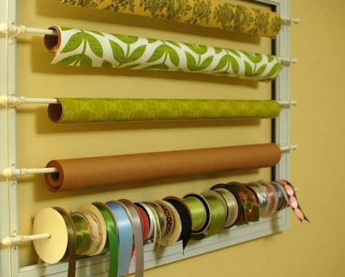Ribbon and wrap paper storage