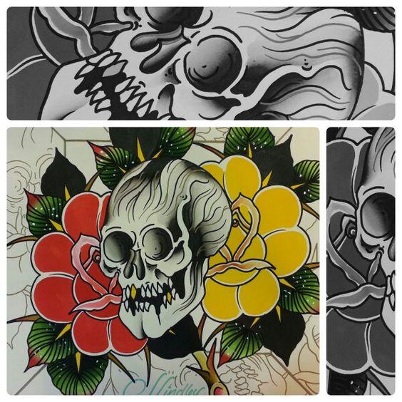 #skull #roses #painting #watercolor