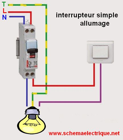 Sch ma lectrique interrupteur simple allumage branchement et c blage interru - Brancher un interrupteur double ...