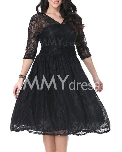 $23.40 Sizes XL - 7XL        Stylish V-Neck 3/4 Sleeve Plus Size Solid Color Lace Dress For Women