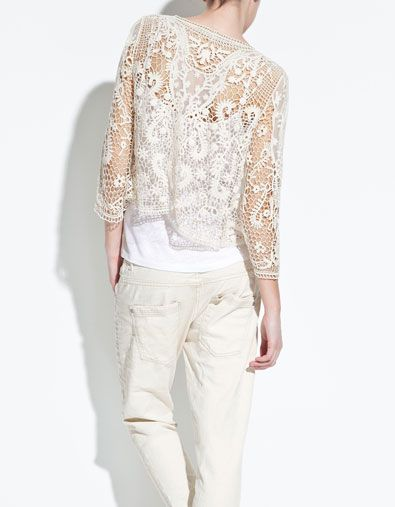 Zara crochet cardigan...need to find something similar in the states.