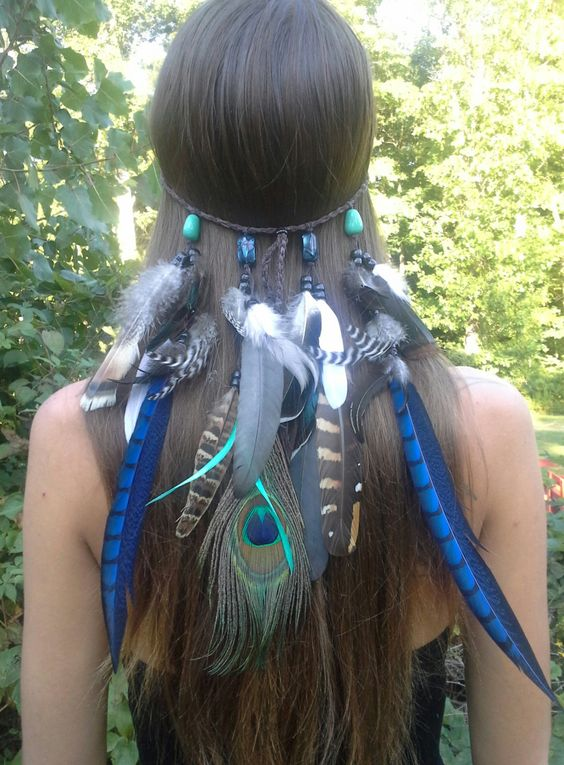 Sapphire Princess - Feather headband, native american, indian headband, tribal headband, bohemian headband, exotic Headband, peacock by dieselboutique on Etsy
