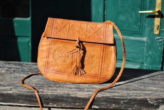 Tooled leather bag leather shoulder bag African by AGAVEvintage