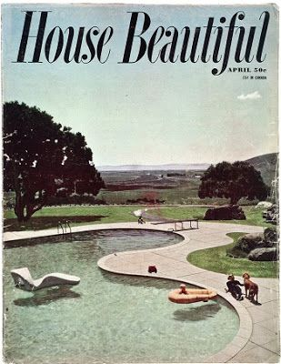 Vintage 1950s Mid-Century Design Magazine -cover of House Beautiful, April 1951. The location is the Donnell Ranch garden, designed by Thomas Church.