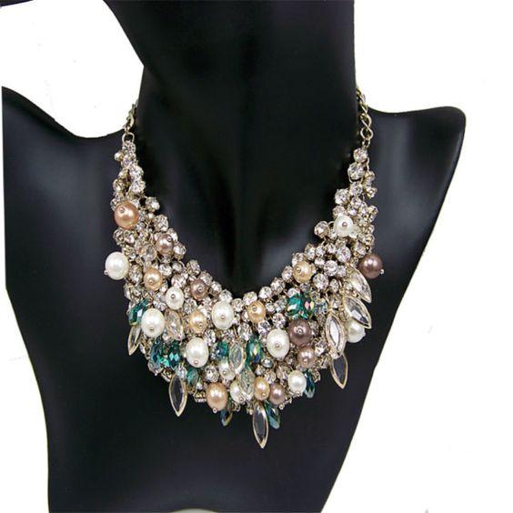 vintage antique jewellery rhinestone crystal pearl bib collar bridal necklace   eBay
