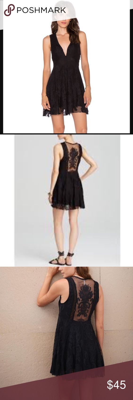Free people reign over me black sleeveless dress 0 Little black dress with a lace sheer back 😍 I love this dress but I have 2 so I decided to let one go! Great condition. It has 2 clip closures in the front so if you want to be daring then you can leave it open 😉 Free People Dresses Mini