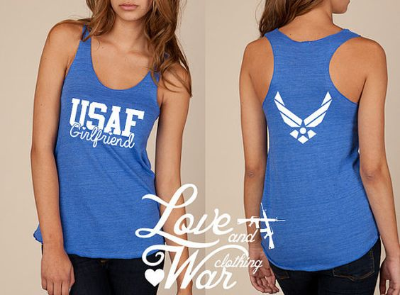 Air Force girlfriend Military Support racer back tank top