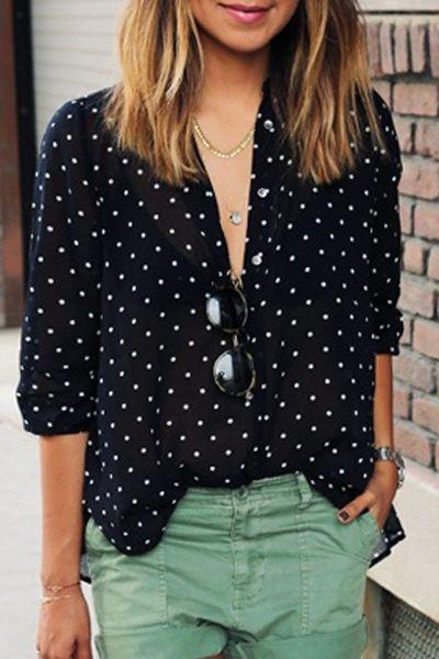 Polka Dot Print V Neck Long Sleeve Shirt