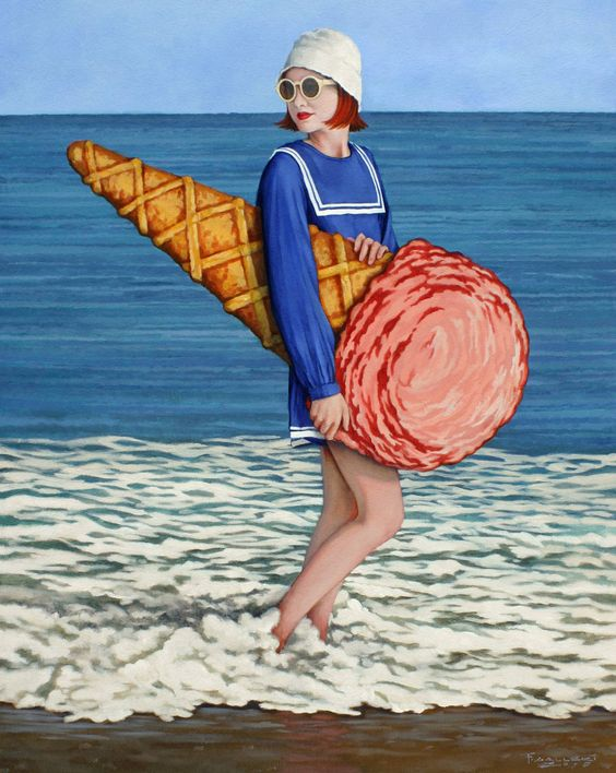 Ice Cream Sunday | From a unique collection of figurative paintings at https://www.1stdibs.com/art/paintings/figurative-paintings/