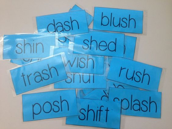 'sh' decodable word flashcards