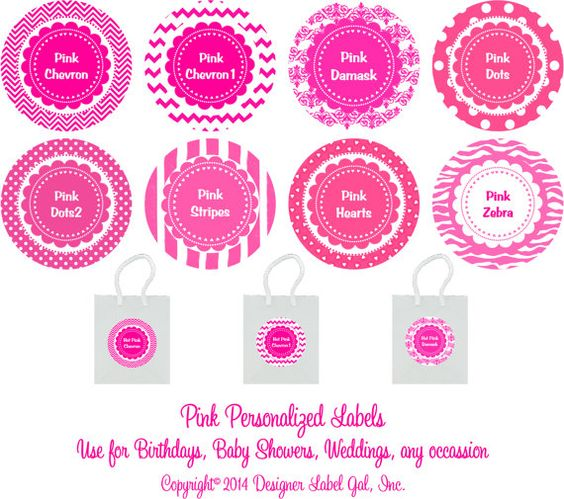 Personalized Round Pink Labels