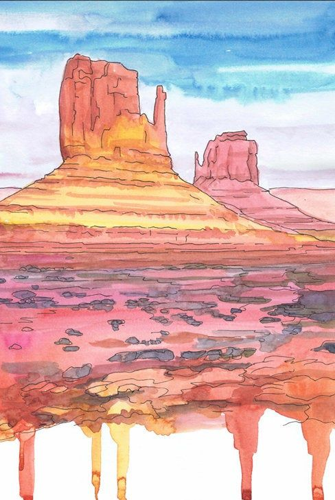Monument Valley Wall Art National Park Travel Poster Watercolor Painting Red Rocks Hiking Monument Valley Painting Park Art
