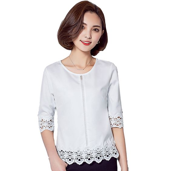 Summer Style 2016 New Hollow Out White Lace Blouse Half Sleeve ...