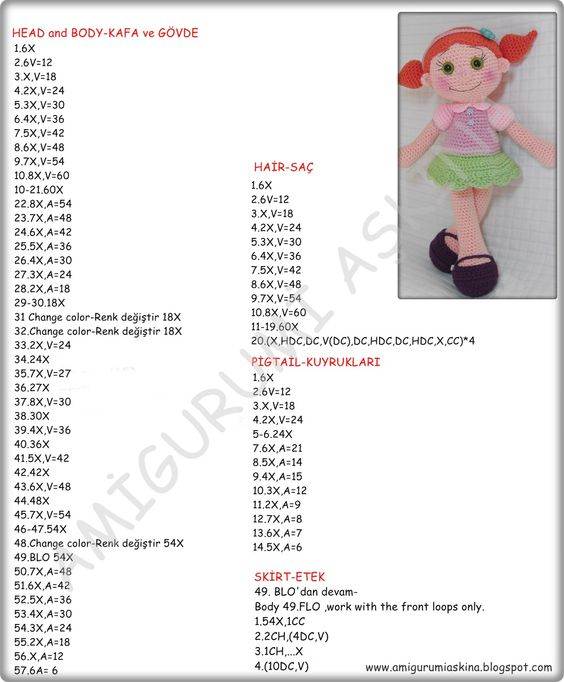 Amigurumi Askina Doll Pattern : Amigurumi, Free pattern and Dolls on Pinterest