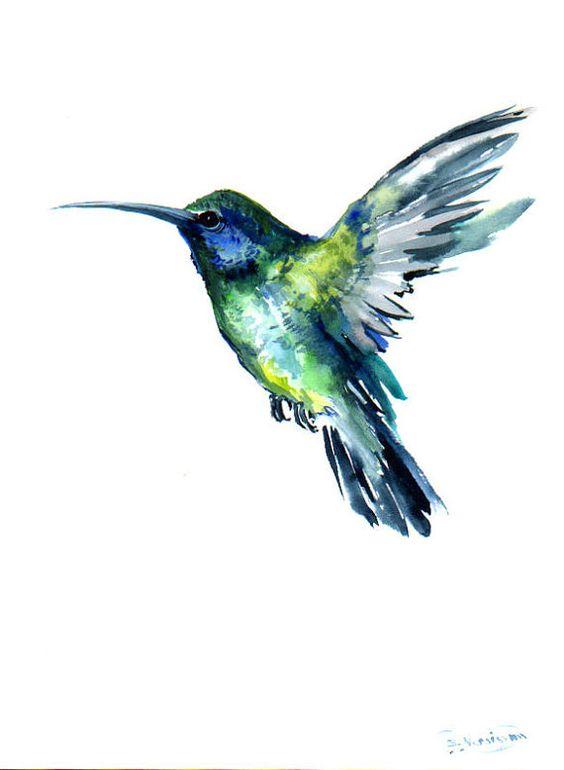 Flying Hummingbird, Original watercolor painting, 12 X 9 in, green blue bird art, bird painting on Etsy, $36.00: