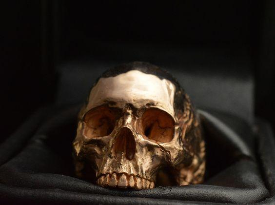 Skull Ring 18kt Rose or Yellow Gold Skull 50 grams Mens Biker Masonic Jewelry | eBay