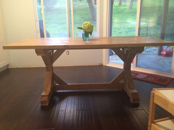 Our DIY Fancy X Farmhouse Dining Room Table, From Ana
