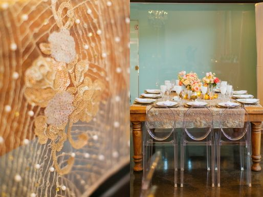 Gold Linen on Wood Table