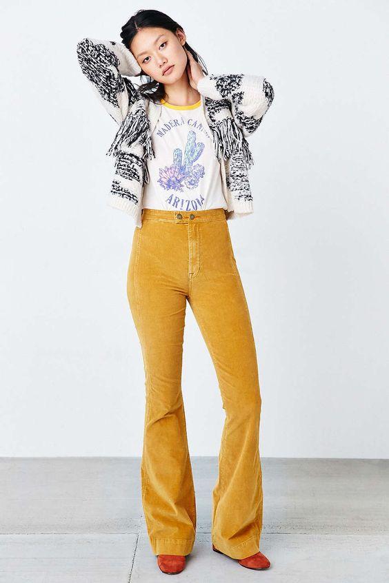 yellow corduroy pants - Pi Pants
