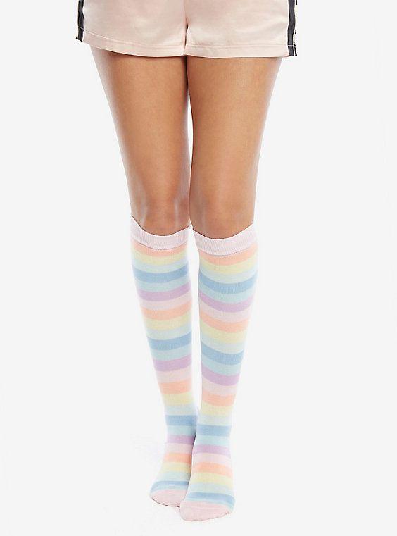 1 Pair Rainbow Stripes Thigh High Stockings Long Socks