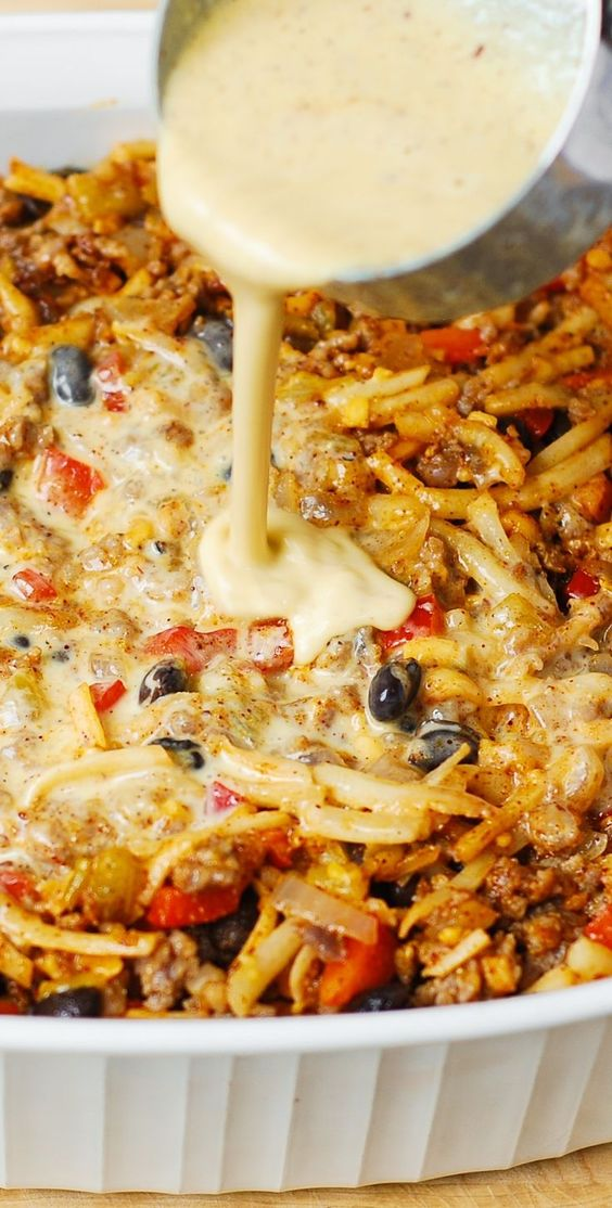 Southwestern Breakfast Casserole with eggs, sausage, black beans, bell ...