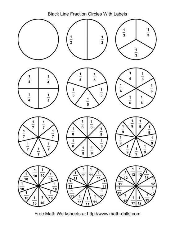 Blackline Fraction Circles Small Labeled Math Worksheet – Fraction Circle Worksheets