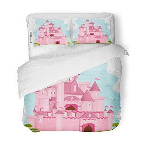 SanChic Duvet Cover Set Princess of Cute Pink Castle Palace Cartoon Clipart Decorative Bedding Set with 2 Pillow Shams F Bed decor Duvet cover sets Bedding set